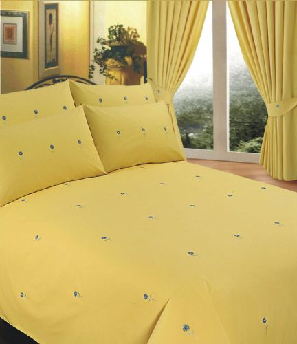 YELLOW COLOUR STYLISH EMBROIDERED FLORAL DUVET COVER LUXURY BEAUTIFUL COTTON BEDDING